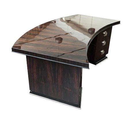Exklusiver Schreibtisch in braun mit Glanz Seitenansicht