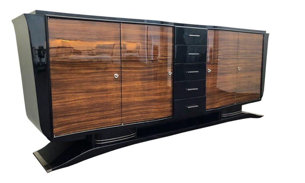 Sideboard geschlossen in braun schwarz Seitenansicht
