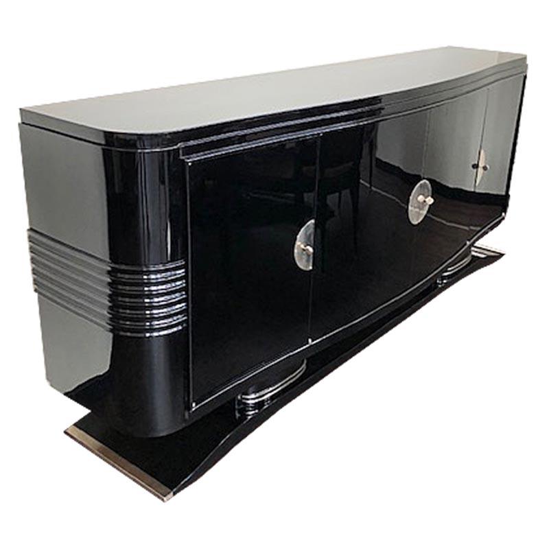 Sideboard mit geschwungener Form in schwarz Seitenansicht