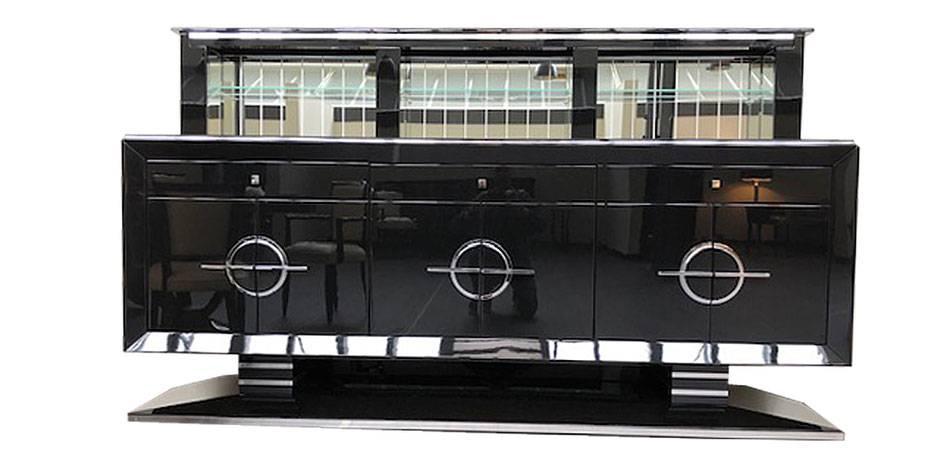 BAR GATSBY mit ausfahrbarem Barfach. B.250 x T.60 x H.100/ 150 cm.