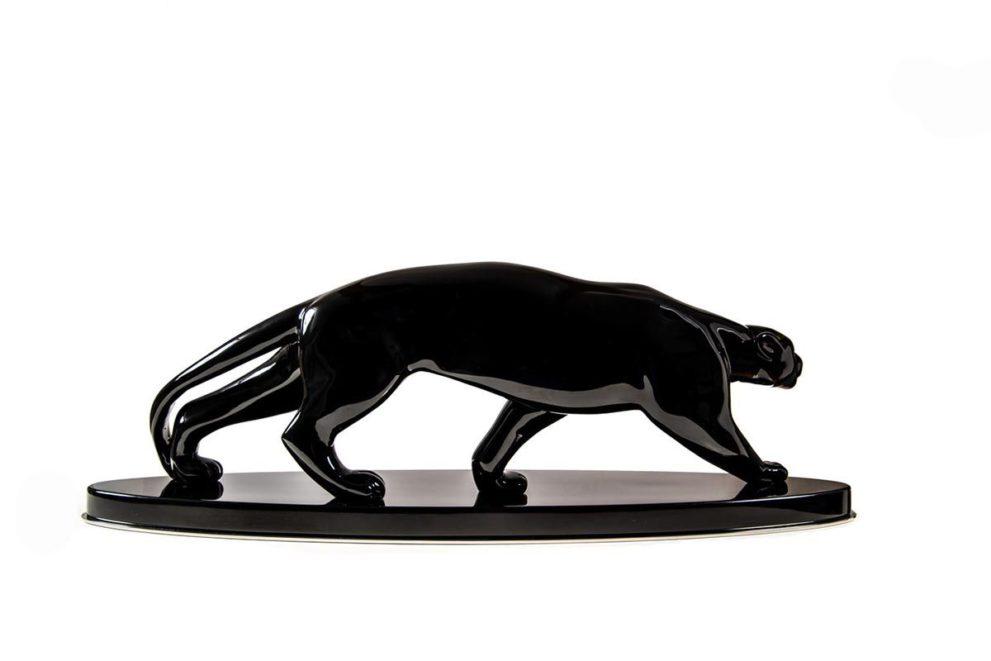 Panther Skulptur signiert aeckerlin Seitenansicht