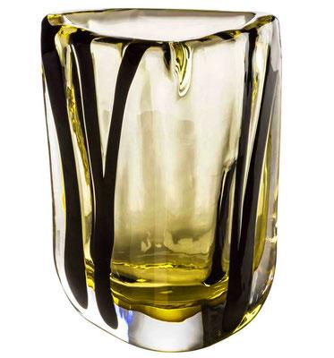 Schwarz gelbe Vase Venini