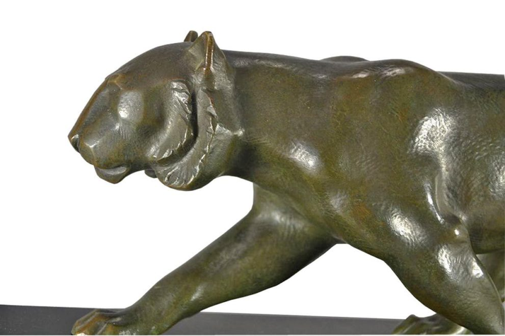 Panther Skulptur in bronze Detailansicht