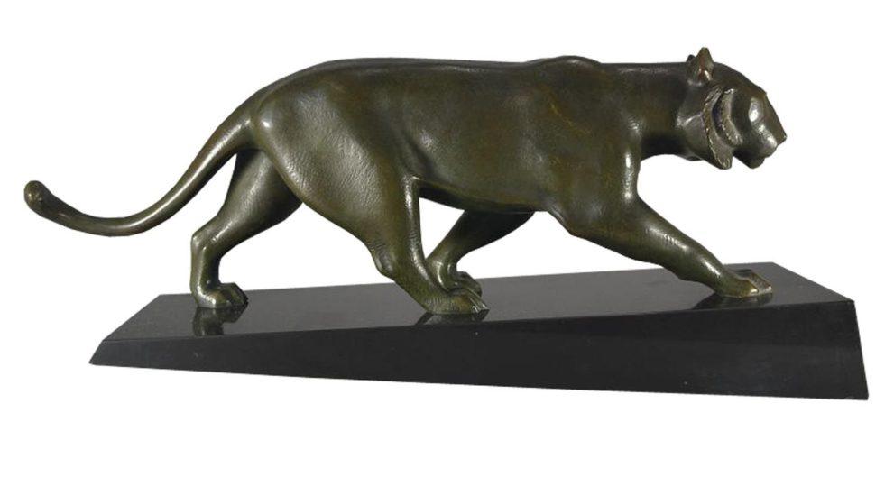 Panther Skulptur in bronze Seitenansicht