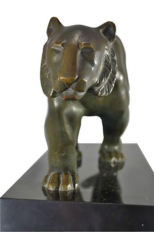 Panther Skulptur in bronze Vorderansicht