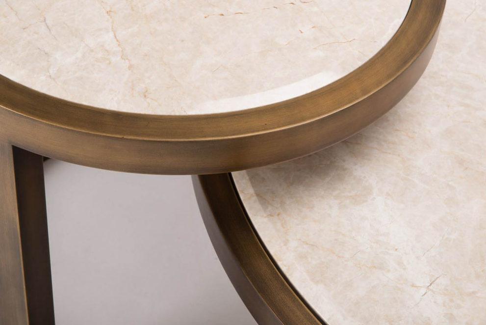 Couchtische OMEGA MARBLE. D.115 x 37 und D.60 x H.50 cm