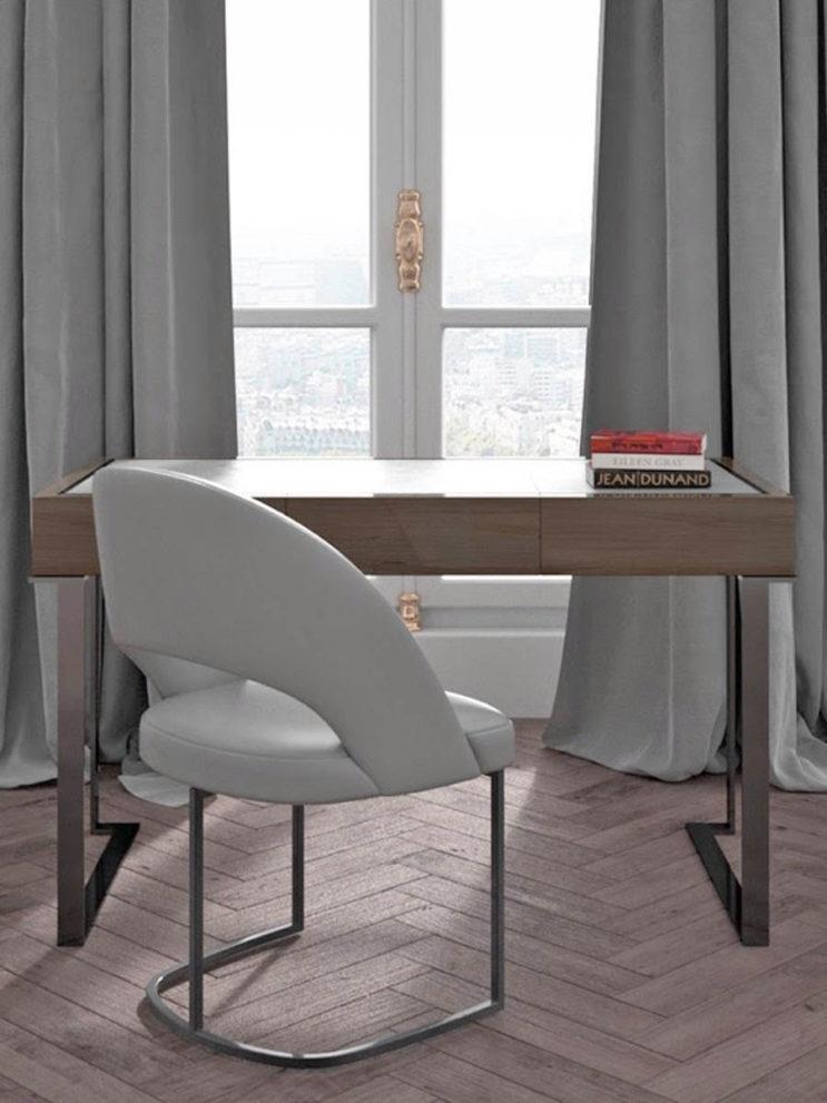 Schreibtisch PARIS. B.130 x T.65 x H.76 cm mit Stuhl ALMA