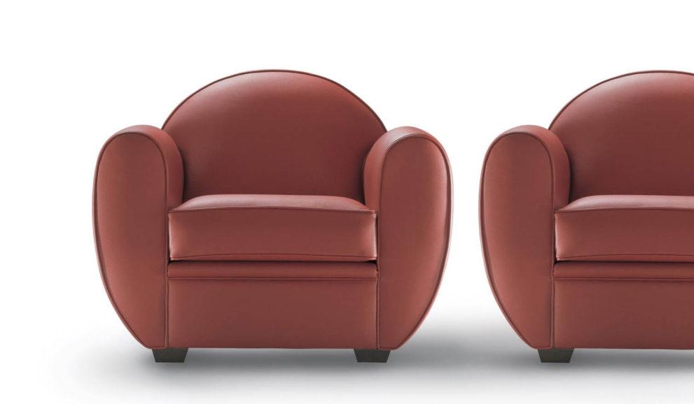 Sessel CLUB-ICONIC. B.94 x T.84 x H.78 oder CLUB-XL. B.110 x T.92 H.80 cm