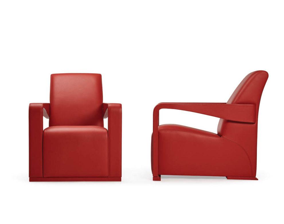 Sessel mit Leder-bezogenen Armlehnen YING-ICONIC. B.73 T.88 x H85 cm