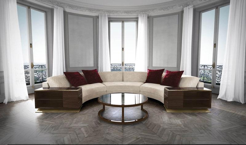 Sofagruppe HAUSSMANN halbrund mit 3 Modulen.