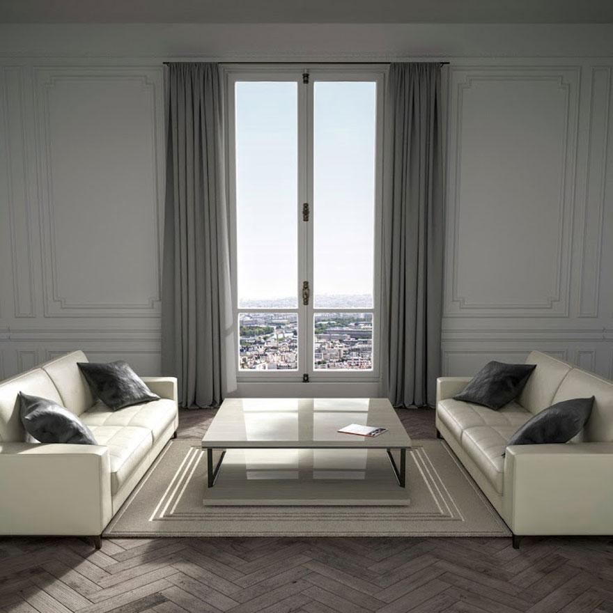 Wohnzimmer in Paris mit Couchtisch und creme-weißes Sofa