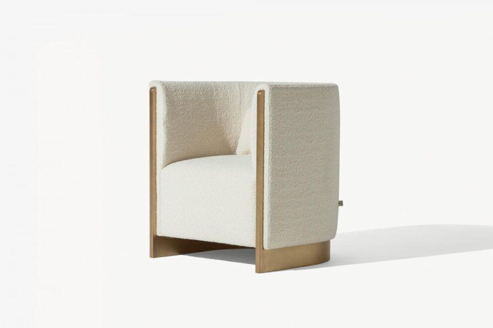 Sessel Adeline in der Farbe creme weiss Seitenansicht