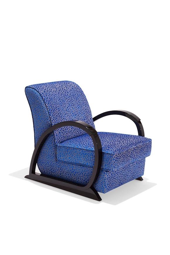 Sessel Liberty Iconic mit Muster in den Farben blau schwarz