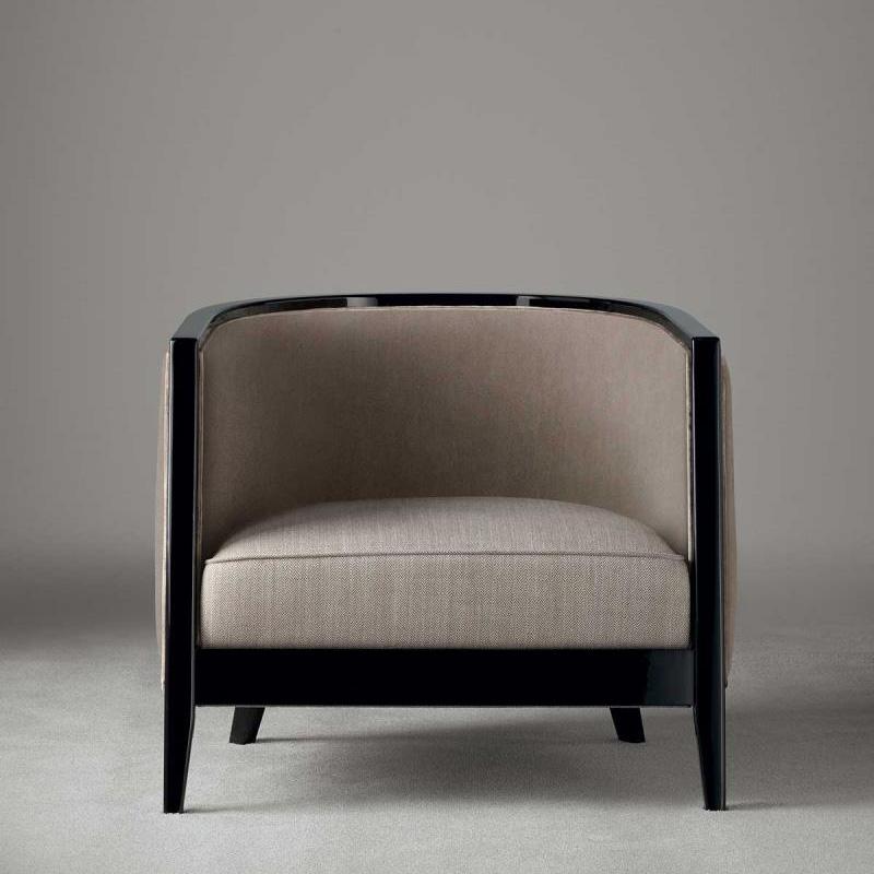 Sessel Saten in den Farben beige schwarz