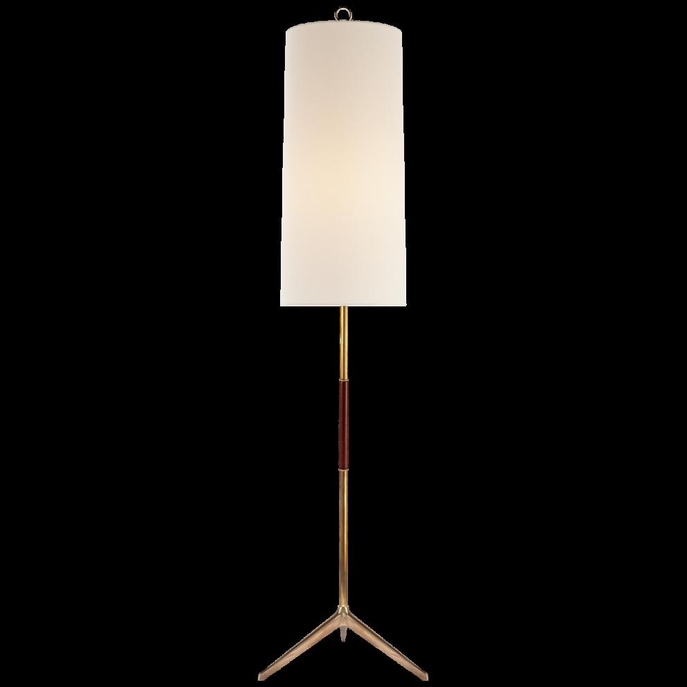Stehlampe in gold braun und rundem, langen Schirm