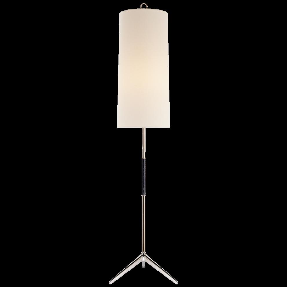Stehlampe in silbder schwarz und rundem, langen Schirm