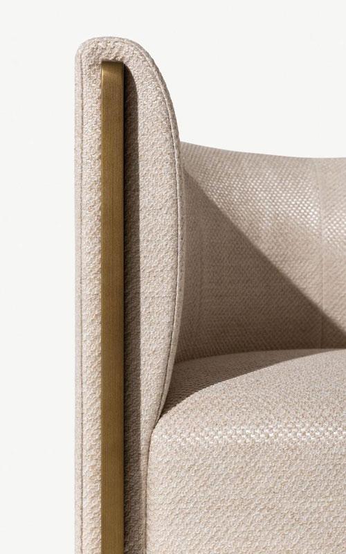 Detail von einem Sessel in beige