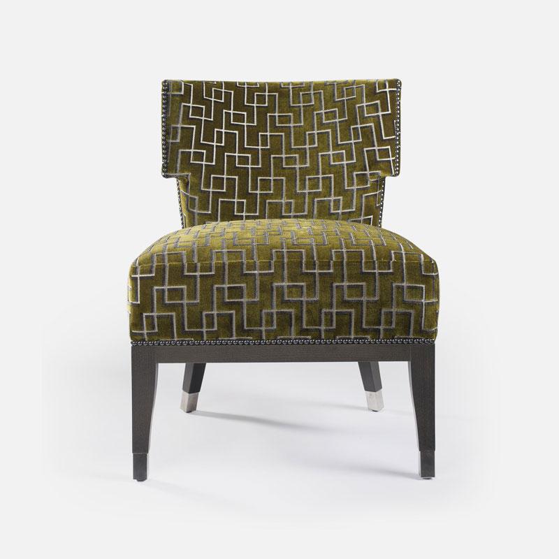 Sessel FACTORY mit Muster in den Farben grün braun beige