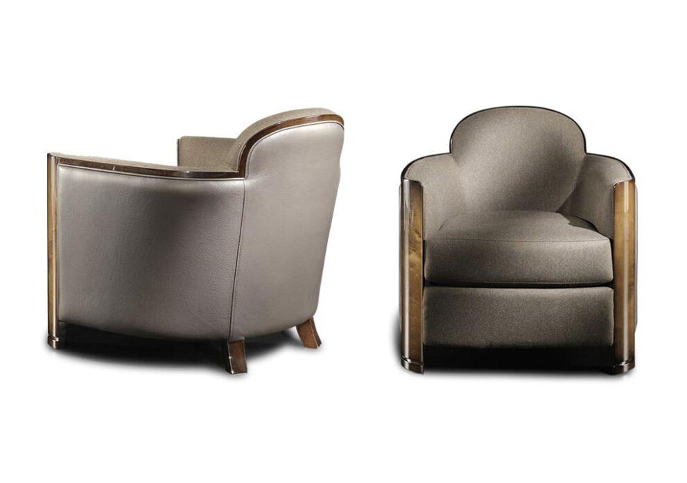 Sessel Lobby Iconic in braun. Hinteransicht und Vorderansicht