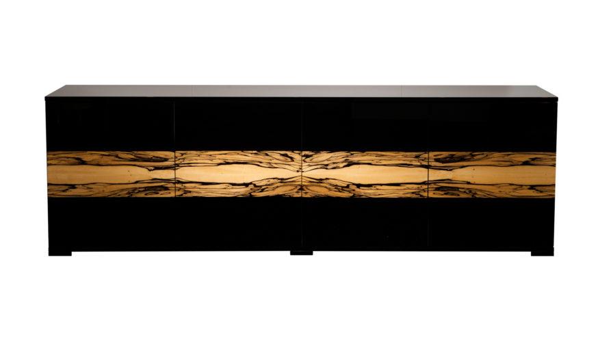 Sideboard PHILIPPE B.220 x T.45 x H70 cm. Schwarzlack und Albino-wood.