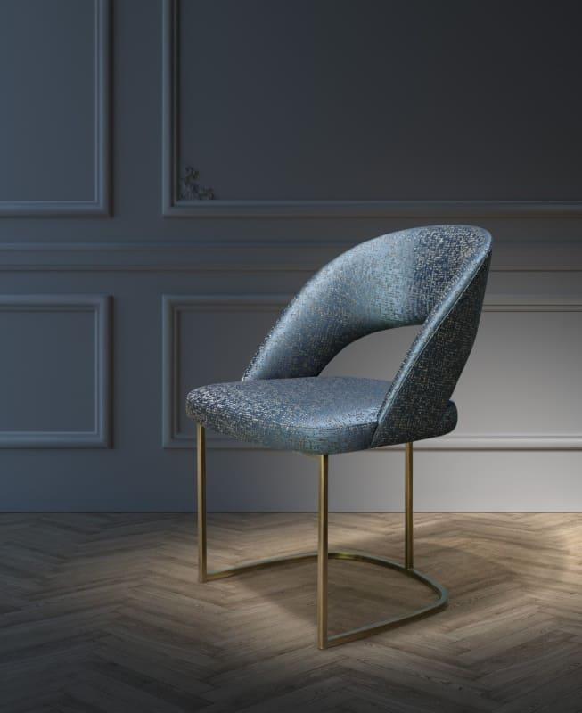 Polsterstuhl Alma Paris mit Muster in dunklem blau und gold