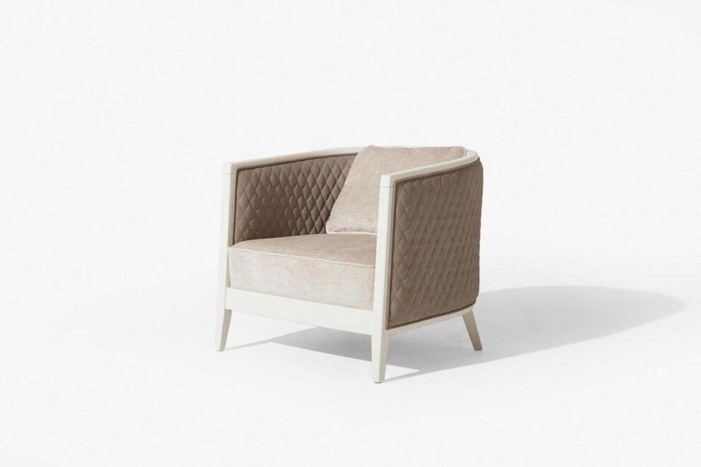Sessel Saten in der Farbe beige weiss Seitenansicht
