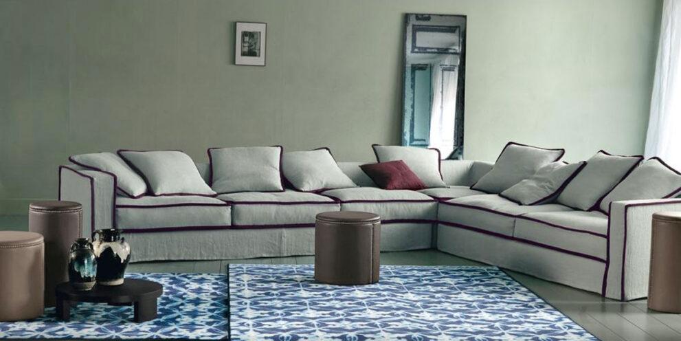 Sofagruppe PILLOPIPE mit kontrastierenden Kedern