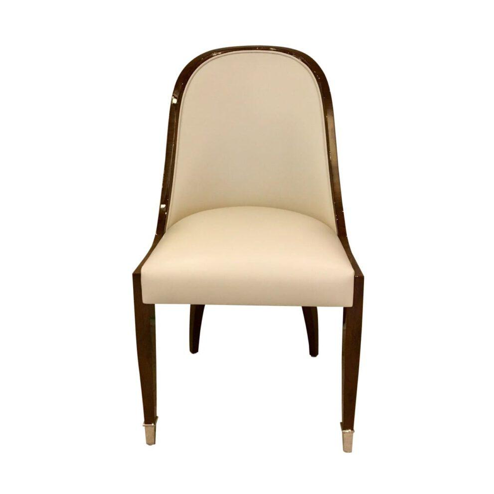 Stuhl ST102 mit Fusskappen beige braun Vorderansicht