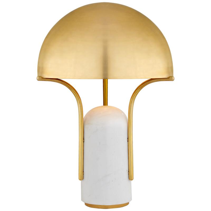Tischlampe in Pilzform mit ovalem Ständer in gold weiss