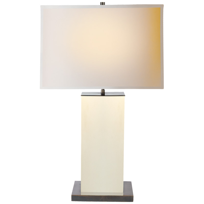 Tischlampe eckig in beige