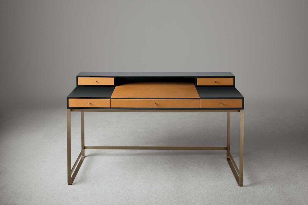 Schreibtisch Oasis braun schwarz und goldenen Beinen