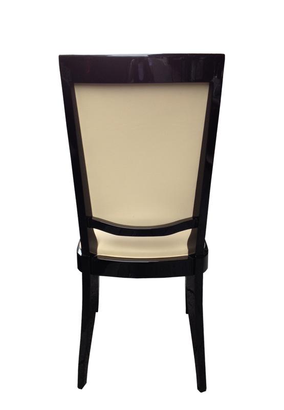 Stuhl in beige und schwarz Hintenansicht