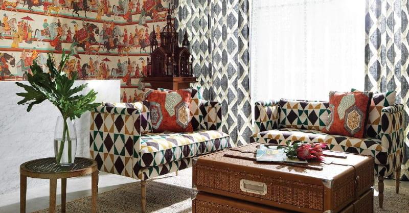 Wohnzimmer mit Stoffen von Jim Thompson