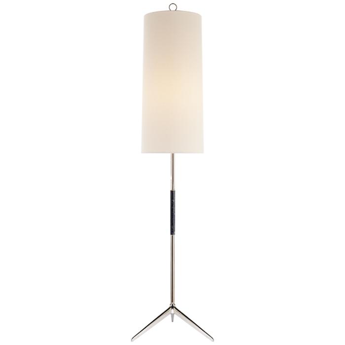 Stehlampe in poliertem Nickel mit schwarzem Detail, Schirm in wollweißem Leinen bezogen